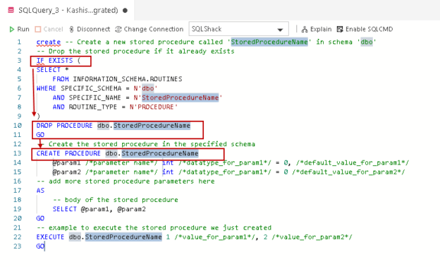 Code Snippet for SQL database in Azure Data Studio