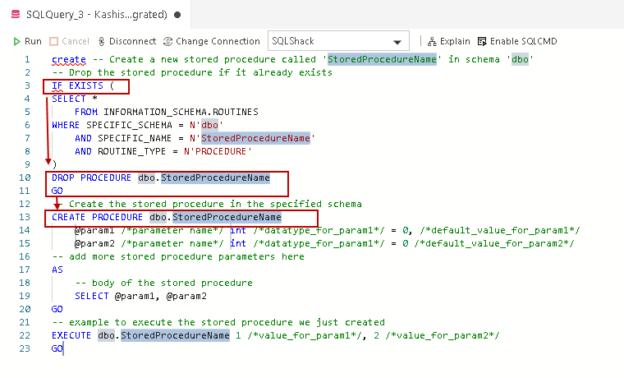 Code Snippet for SQL database in Azure Data Studio