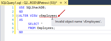 CREATE VIEW SQL statement in the query editor for altering view's definition showing an invalid view name