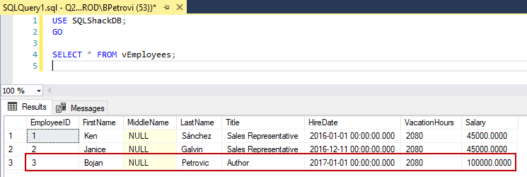 Executed SELECT statement using the view as the source in the FROM clause and highlighting the new record returned