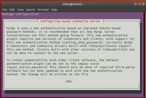 MySQL 8 installation - authentication plugin configuration information