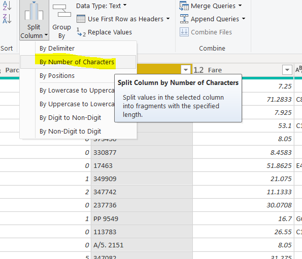 Selecting the split column option