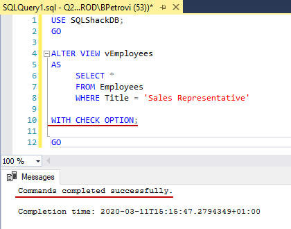 Successfully executed CREATE VIEW SQL statement for altering view's definition and adding the WITH CHECK OPTION