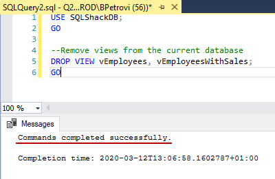 Successfully executed CREATE VIEW SQL statement for deleting multiple views' definition in SSMS