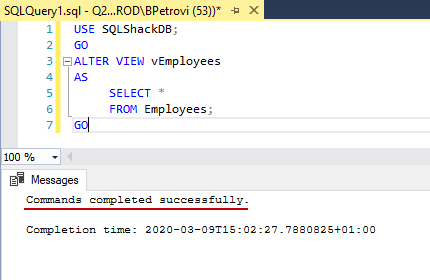 Successfully executed CREATE VIEW SQL statement for altering view's definition in SSMS