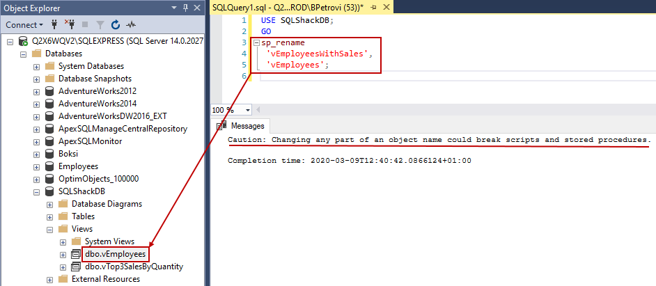 Successfully executed script for renaming a view in SSMS showing the new name in Object Explorer