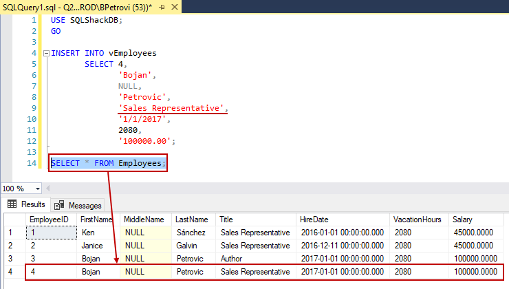 Successfully executed SELECT statement showing all results returned from a table
