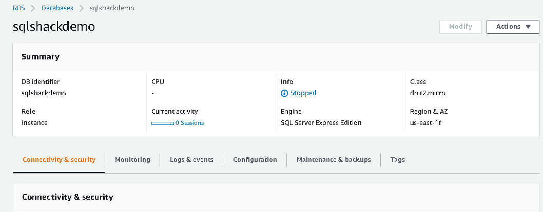 Attach the IAM role with AWS RDS SQL Server