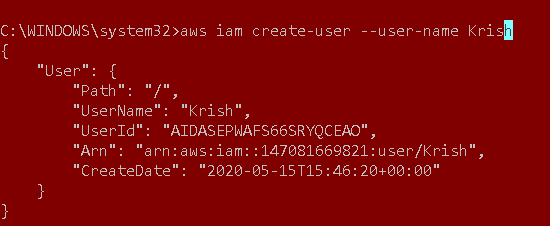 Create IAM user using the AWS CLI
