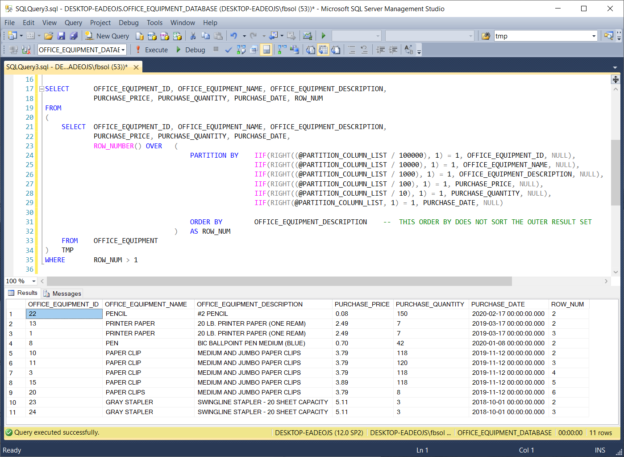 Run the DYNAMIC_ROW_NUMBER_PARTITIONS stored procedure with a T-SQL EXEC statement, and see the result set.