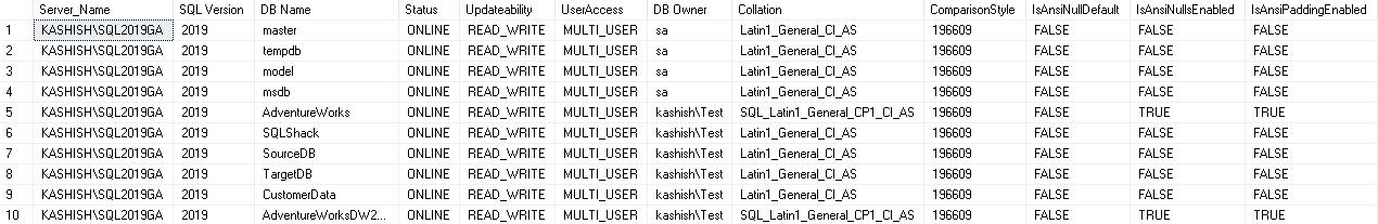 Explore a função DATABASEPROPERTYEX () para bancos de dados SQL Server 1
