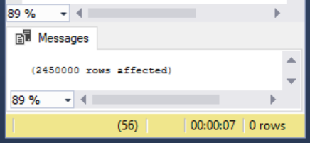 The load consumed 7 seconds for 2.45 million rows during the SQL bulk insert.