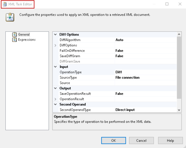 XML task editor in SSIS Package