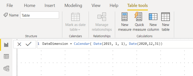 Creating the Date Dimension in Power BI