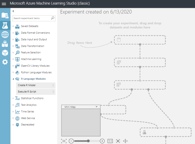 Experiement configuration is Azure ML Studio.