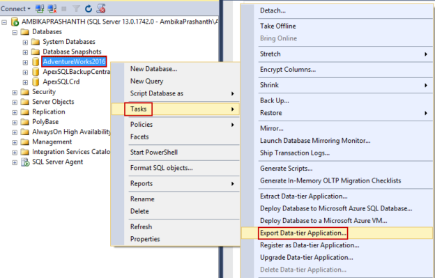Migrate on-premises SQL Server database to Azure SQL Database Using Export Data-Tier Application…