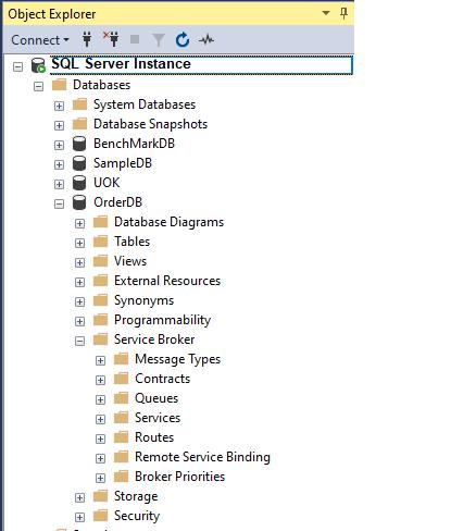 Objetos do SQL Service Broker no SQL Server Management Studio,