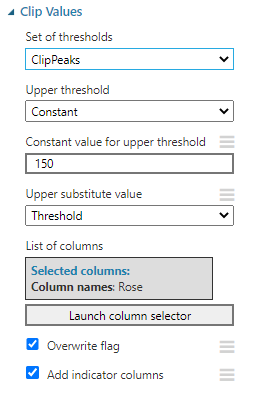 Clip Values configuration in Data Cleaning for Azure Machine Learning.