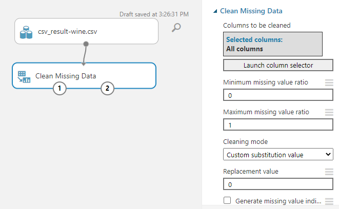 Configuring Clean Missing Data control.