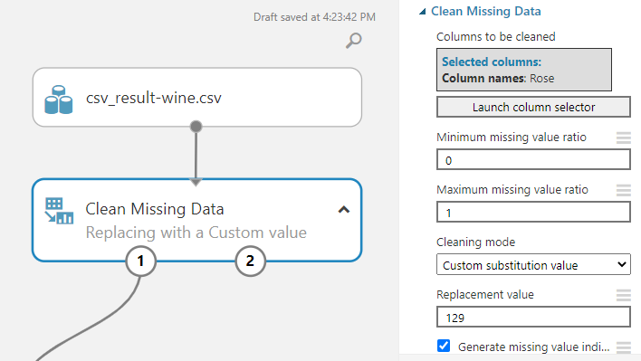 Configuring Clean Missing Data with custom substitution value.