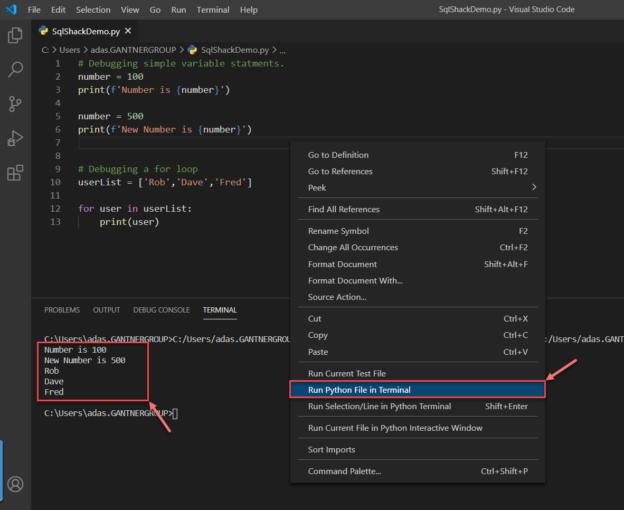 Debug python scripts in VS Code