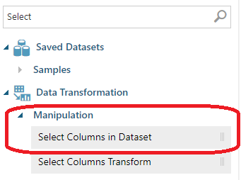 Using Select Columns in Dataset control in the Azure Machine Learning.