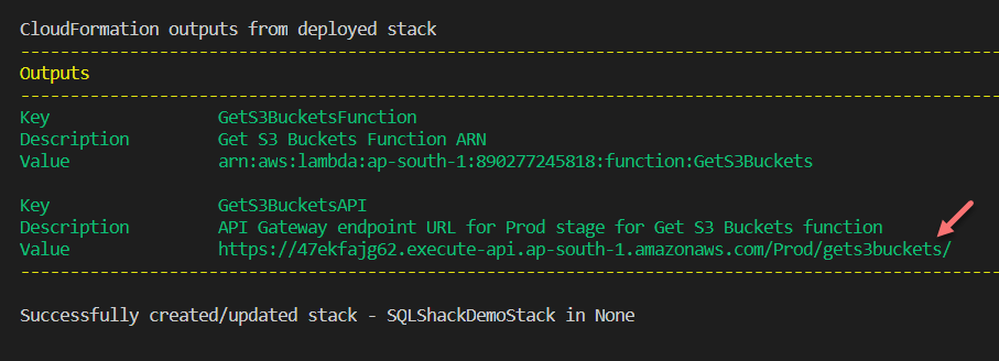 Application deployed successfully to AWS using the SAM CLI