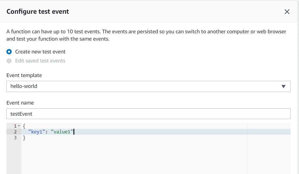 Configuring the event