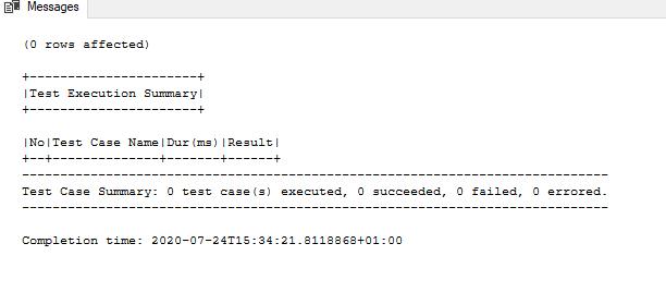 Dry test run of SQL unit tests