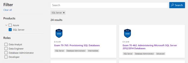 SQL Certification list