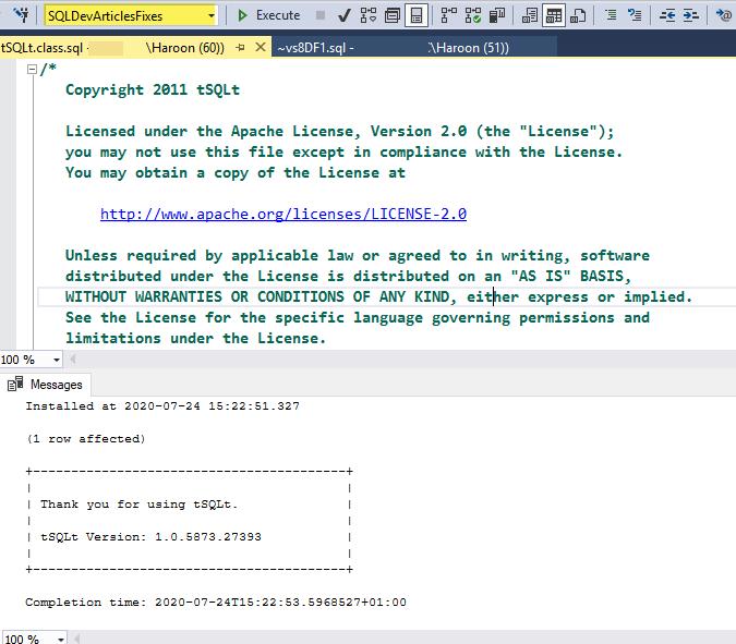 Successful installation of SQL unit testing framework