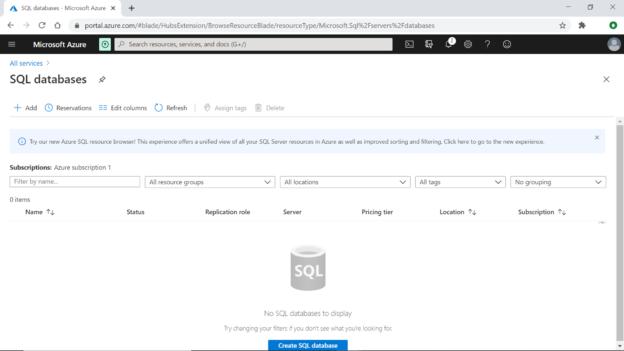Azure SQL Server Database - Create New Database