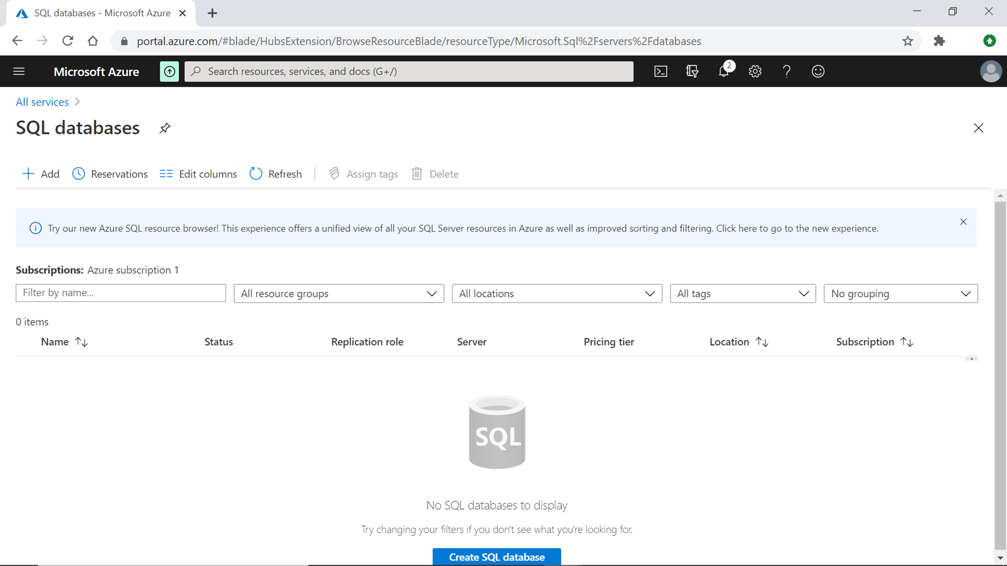 Create an Azure SQL Database with built-in sample data