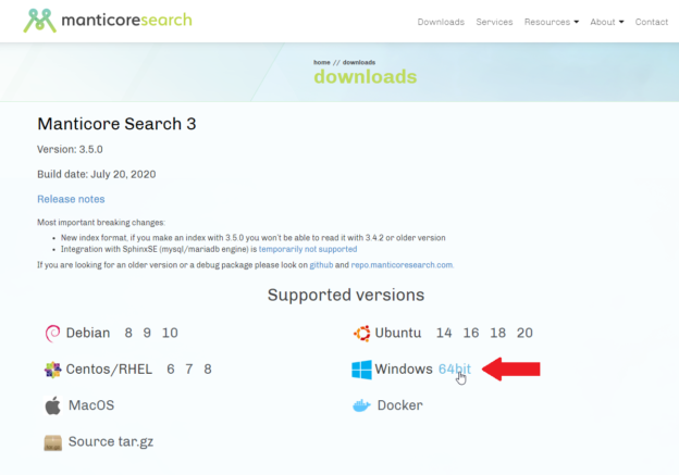 Download Manticore search for Windows 64-bit
