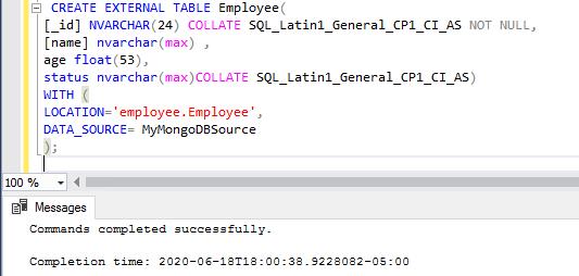 Create mongoDB external table