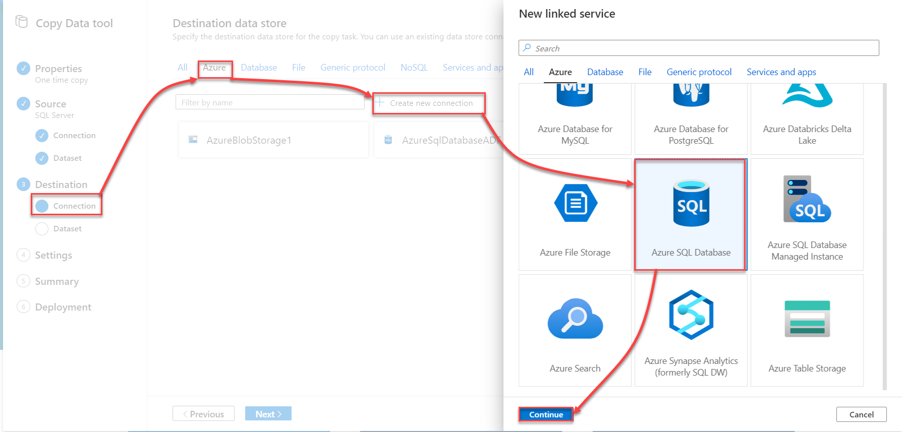 Copy data from On-premises data store to an Azure data store using Azure Data Factory