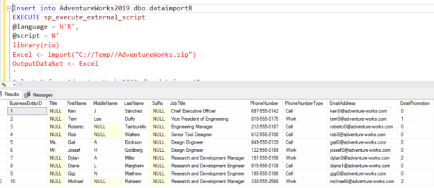 Import data from a CSV to SQL Server tables using R and SQL Server