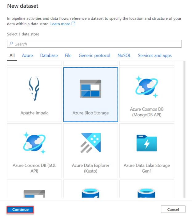 Azure Blob Storage Dataset