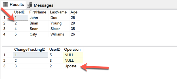 Capturing updates and Operation - change tracking in sql server