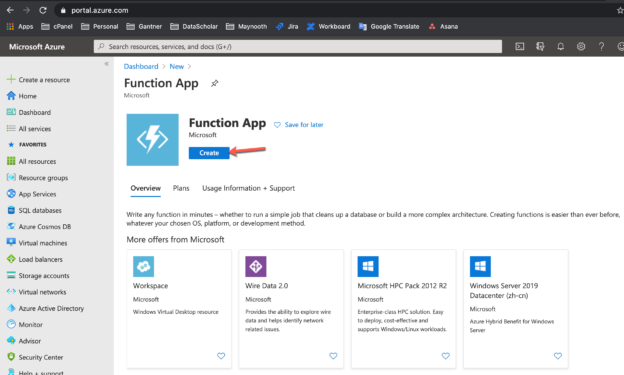 Creating the Azure Function App