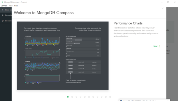 MongoDB Compass welcome screen