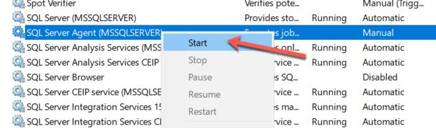 Starting the SQL Server Agent Service