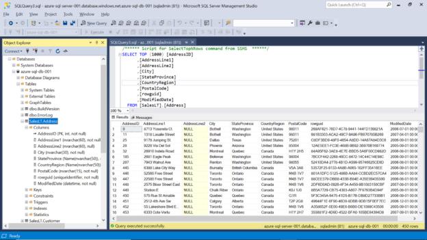 Azure SQL Table