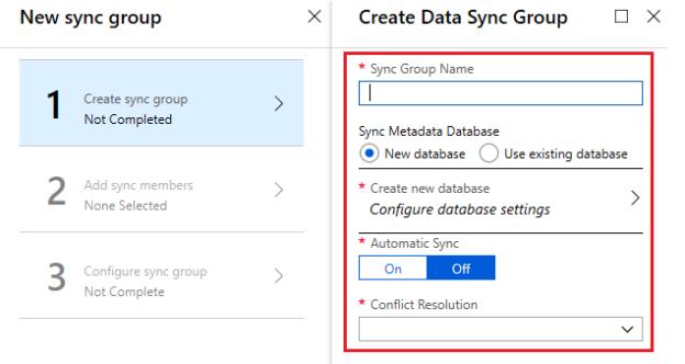 Create Data sync group