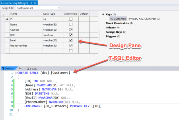 Create table using Design Pane