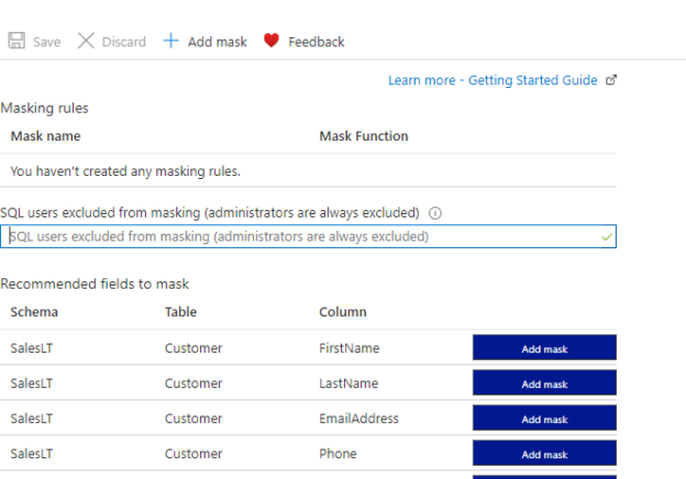Default Data Masking Option Azure SQL.