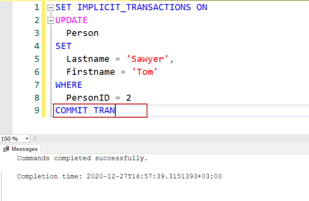 Implicit transaction in SQL Server