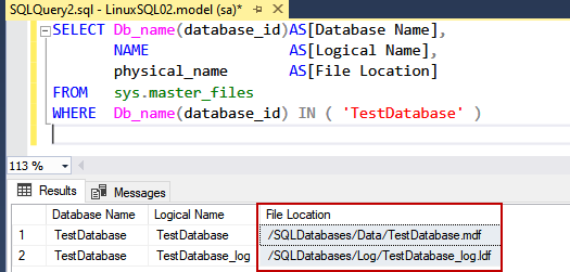 Location of the new SQL Database