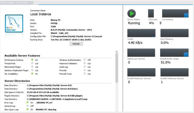 Server status screen