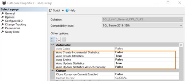 Azure SQL Database properties